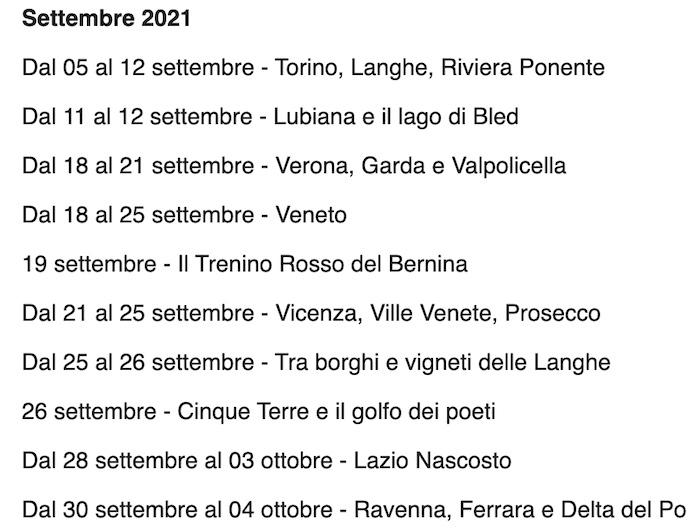 Viaggi settembre 2021